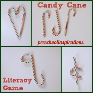 Candy Cane Literacy Game by Preschool Inspirations