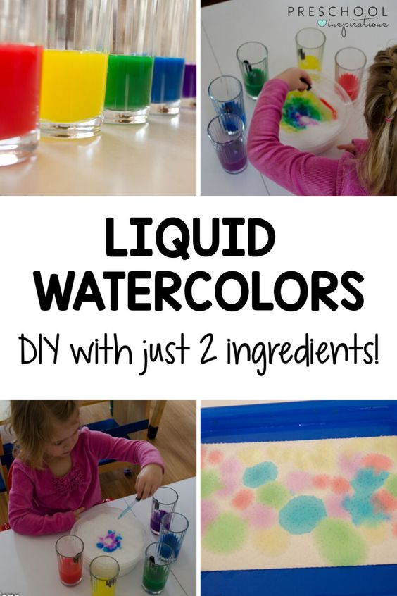 four images of preschool projects made with liquid watercolor and the text 'liquid watercolors diy with just 2 ingredients'