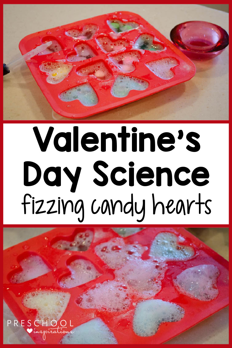 two images of candy hearts in a heart shaped ice cube tray fizzing with baking soda and vinegar, and the text 'valentine's day science fizzing candy hearts'
