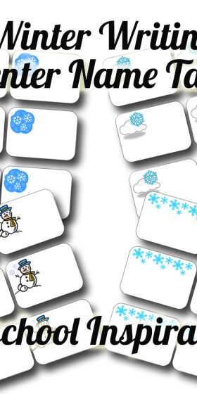 Winter Writing Center Name Tags