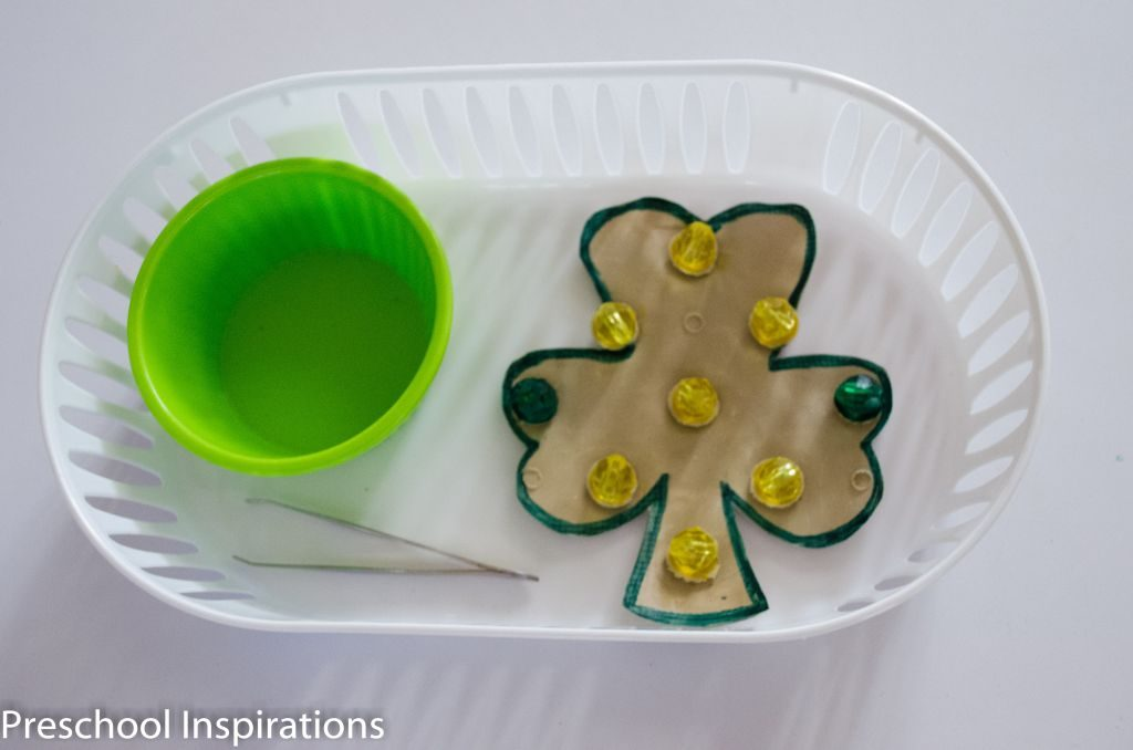 Montessori Fine Motor Shamrock Activity by Preschool Inspirations