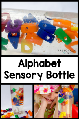 three images of letters inside a sensory bottle with the text, 'alphabet sensory bottle'