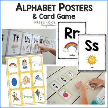 several images of alphabet wall posters and cards with the text, 'alphabet posters and card game'