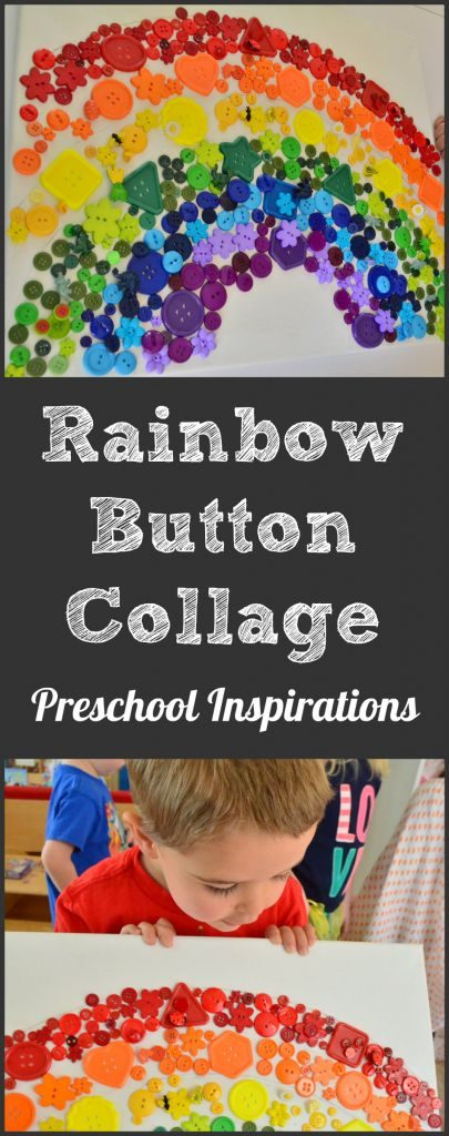 Rainbow Button Collage by Preschool Inspirations