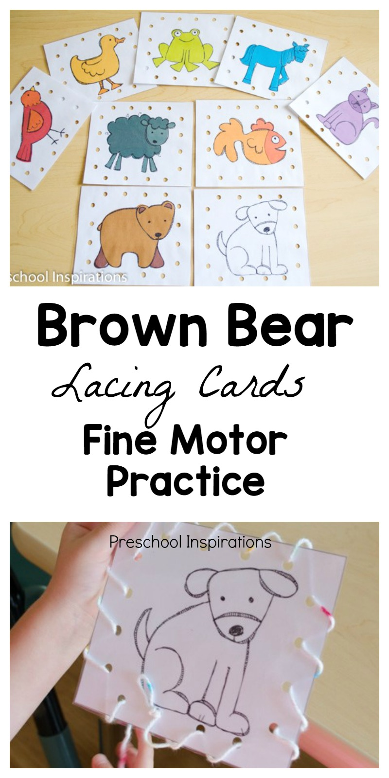 Practice important fine motor skills with these Brown Bear lacing cards. #preschool #prek #finemotor #storyunits #busybags