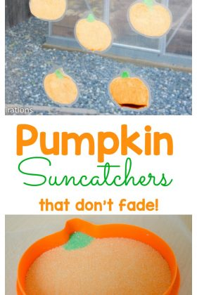 These pumpkin suncatchers are a perfect fall activity for children.