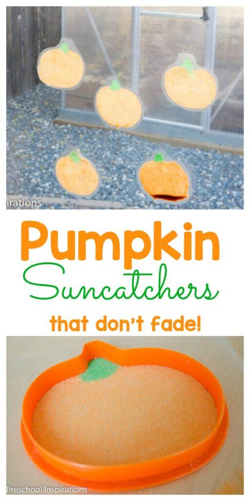 These pumpkin suncatchers are a perfect fall activity for children. #preschool #toddler #prek #fallidea #pumpkins #preschoolideas #preschoolactivities #preschoolcrafts