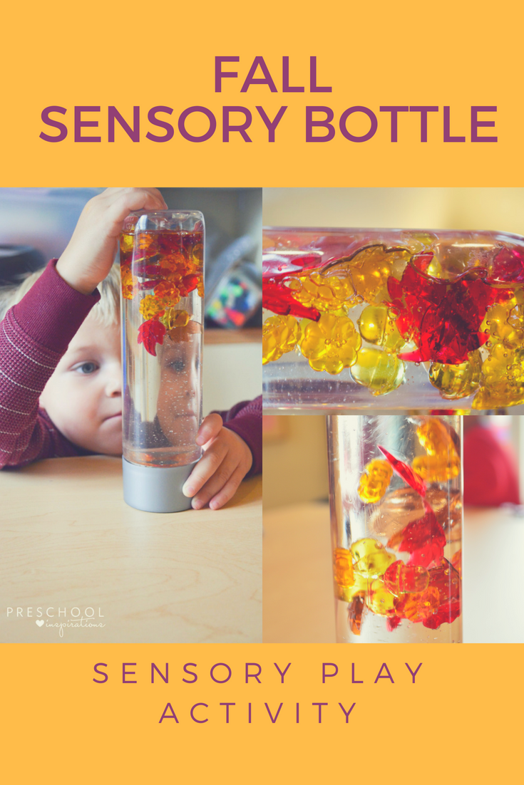 Fall discovery bottle for sensory play. #preschool #prek #toddler #baby #sensoryplay #autism #adhd #fallidea #sensorybottle
