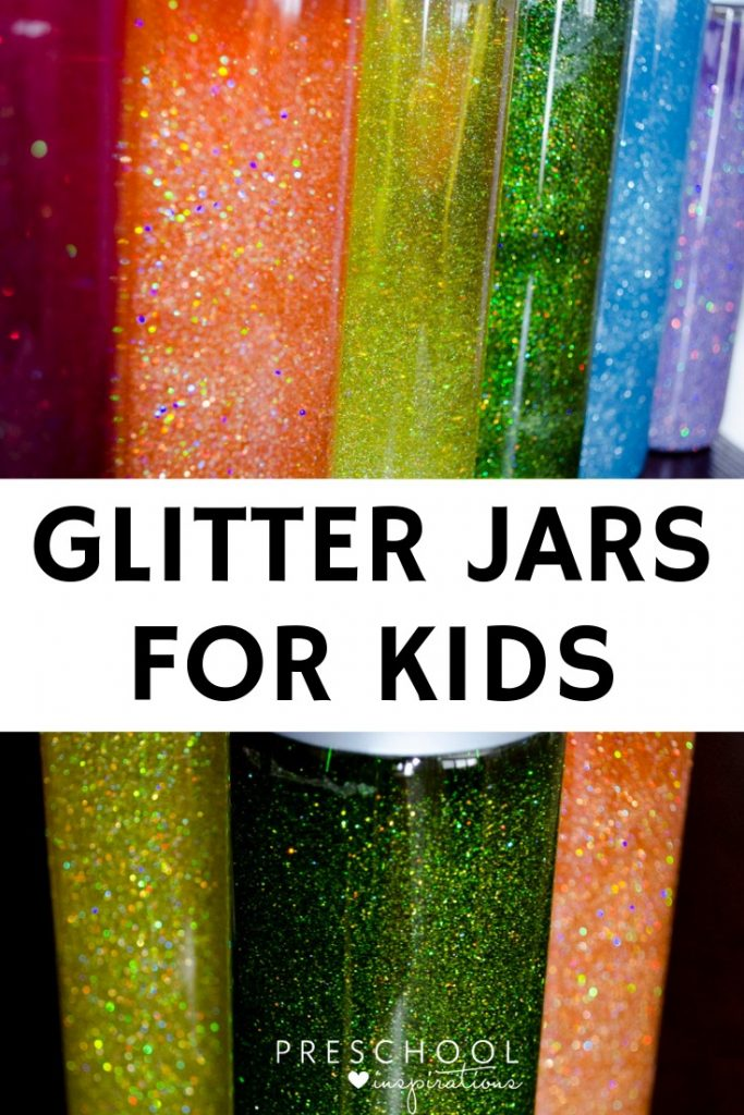 Glitters jars as a calming activity and sensory bottle  for kids, #preschool #kindergarten #sensorybottle