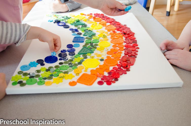 Rainbow Button Collage Craft by Preschool Inspirations-2