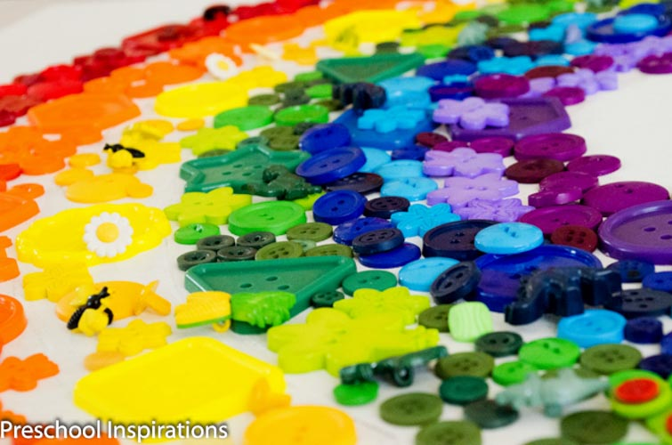 Rainbow Button Collage Craft by Preschool Inspirations-4