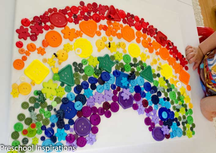 Rainbow Button Collage Craft by Preschool Inspirations-5