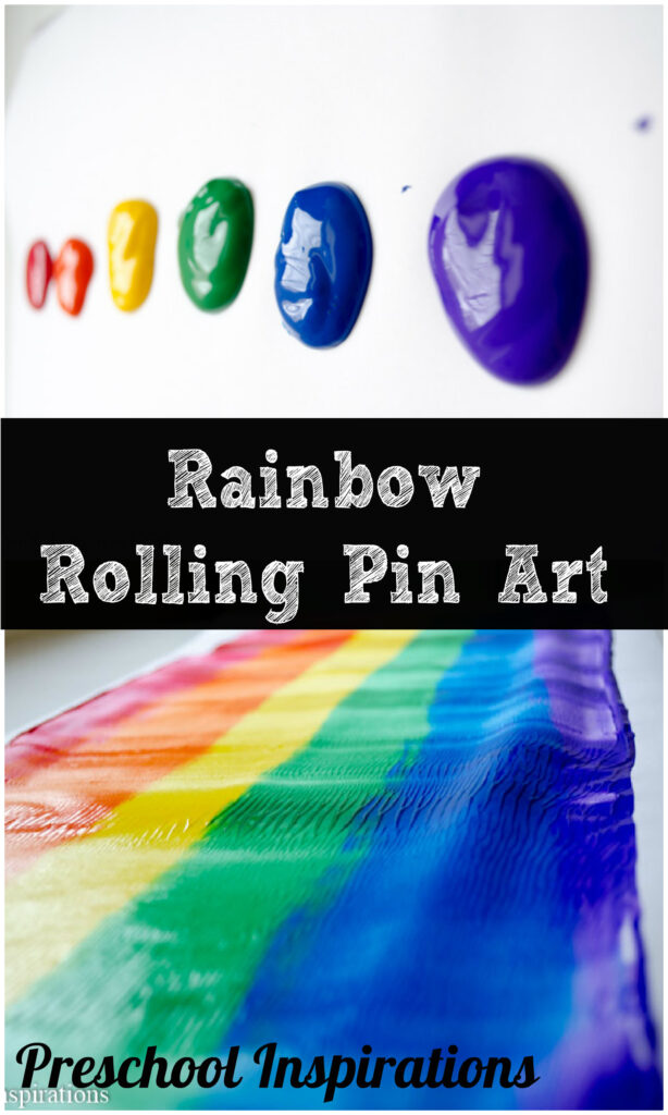 Rainbow Rolling Pin Art for preschoolers by Preschool Inspirations