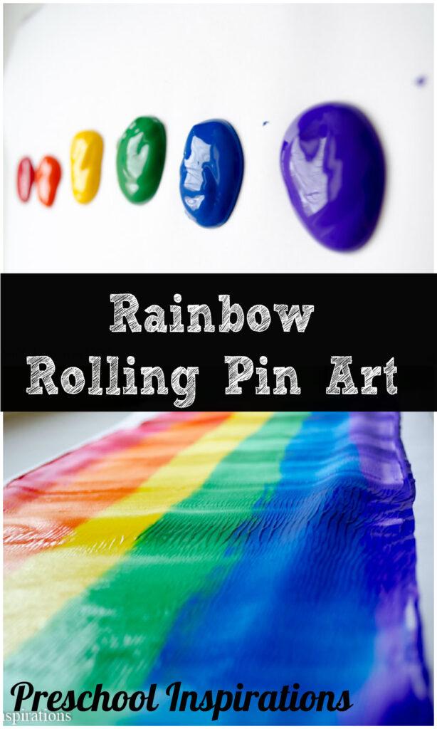 Rainbow Rolling Pin Art for preschoolers by Preschool Inspirations