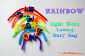 Rainbow Sight Word Lacing Busy Bag by Preschool Inspirations