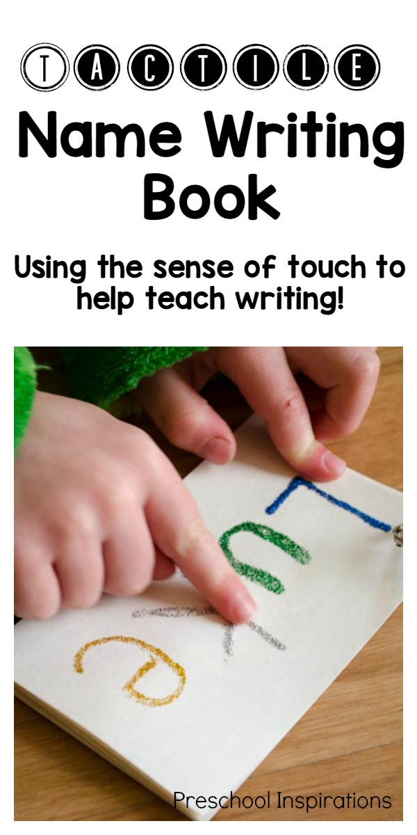 Make a sensory name book to help children learn to write their names with their sense of touch! This tactile name writing book is the perfect way to teach a child to learn to write his or her name. #preschool #kindergarten #namewriting #literacy #namepractice #learningtowrite