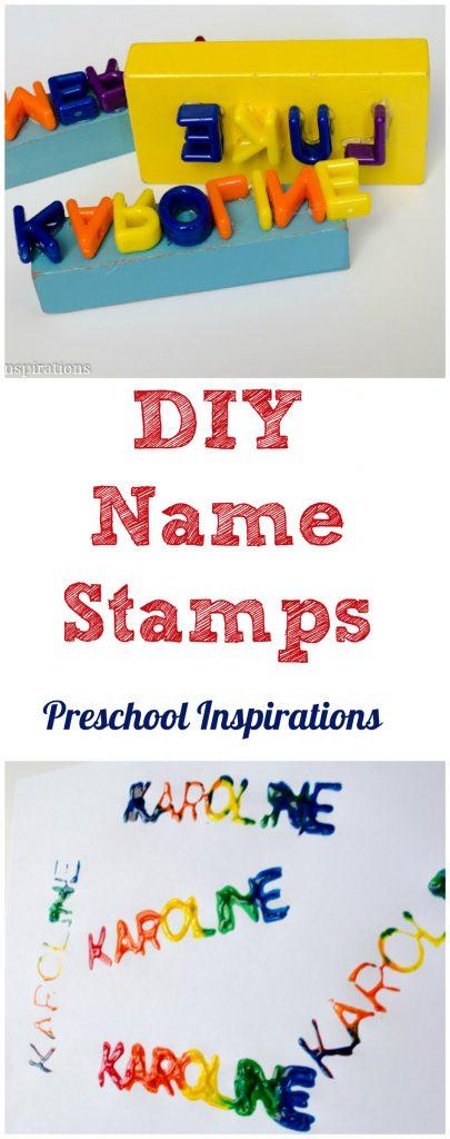 Work on name recognition for preschoolers with name stamps. #preschool #literacy #alphabet #nameactivities #kindergarten #preschoolart#prek #teachers
