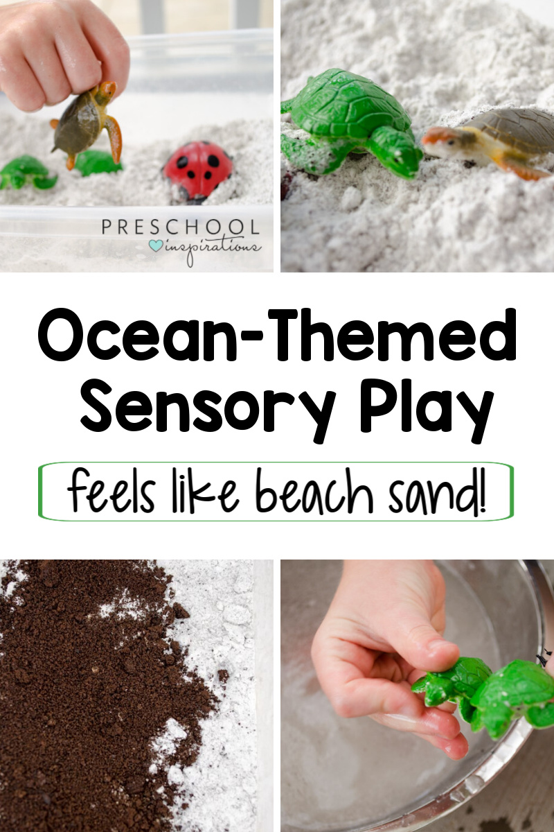 Preschoolers will love getting their hands in this ocean-themed sensory bin! It feels exactly like beach sand, and is super easy to make with just two ingredients! Great for an ocean or a summer theme.
