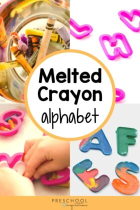 four images of making a melted crayon alphabet