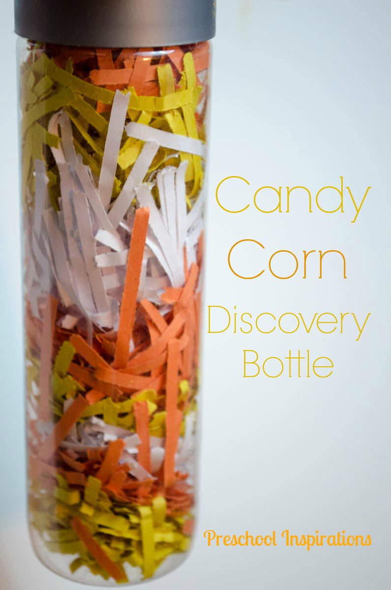 Candy Corn Pattern Discovery Bottle by Preschool Inspirations #preschool #prek #toddler #discoverybottle #preschoolinspirations #preschoolideas #toddlerideas
