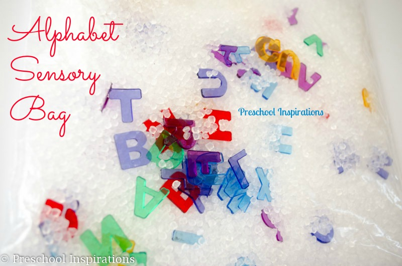 Alphabet Sensory Bag for tactile fun and learning by Preschool Inspirations