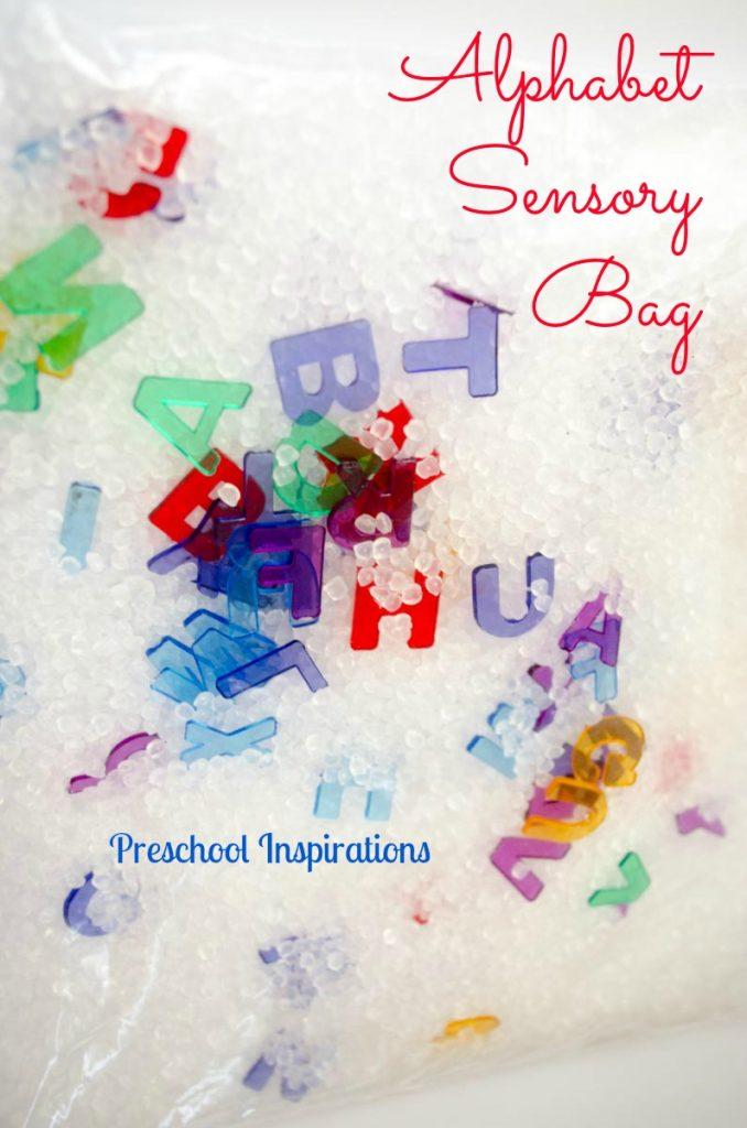 Alphabet Sensory Bag for tactile fun by Preschool Inspirations