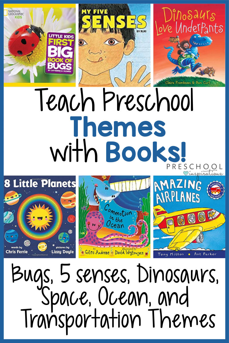 pinnable image of six book covers with the text teach preschool themes with books