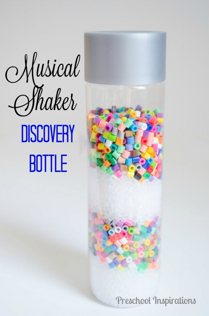 Musical Shaker Discovery Bottle with Beads for sensory play and discovery