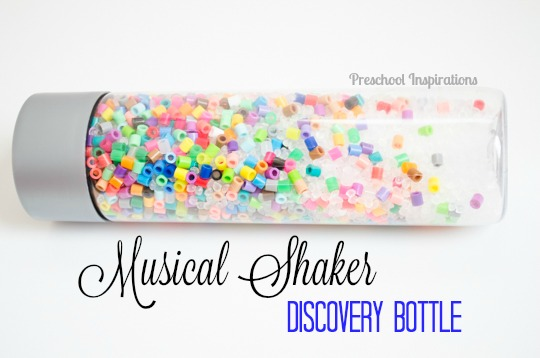 Musical Shaker Discovery Bottle with Beads -- sensory play for all ages!