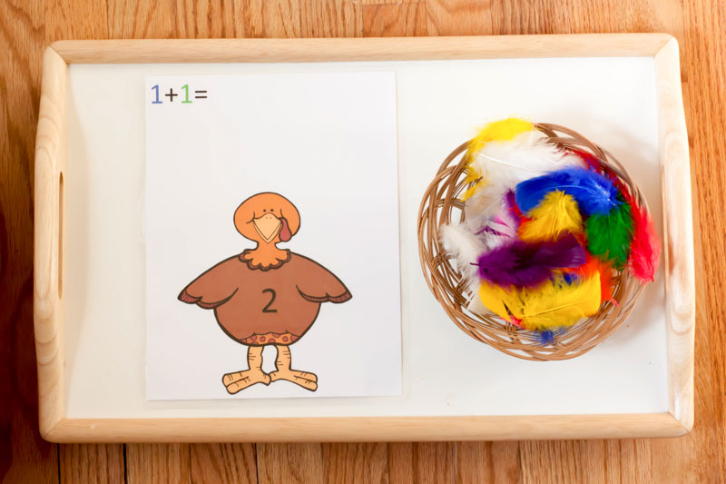 Turkey Color and Number Matching Montessori Inspired Activity by Preschool Inspirations