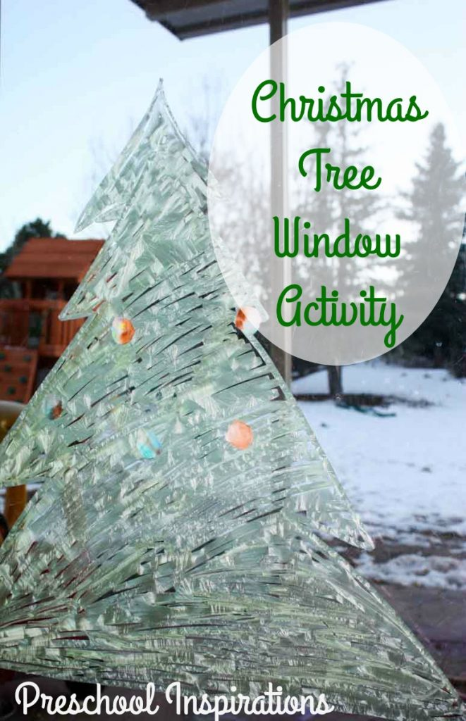 Christmas Tree Window Activity for Children by Preschool Inspirations