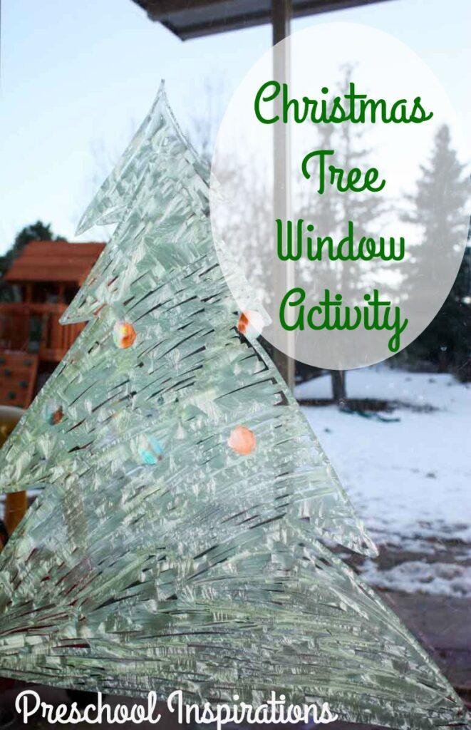 Christmas Tree Window Activity for Children by Preschool Inspirations