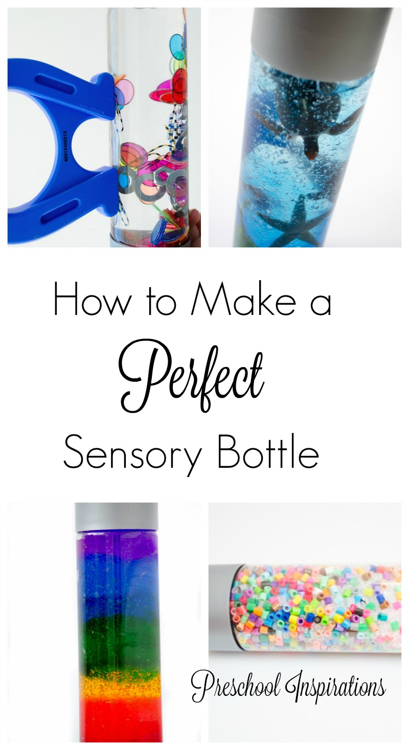 How to Make a Perfect Sensory bottle with tips and tricks by Preschool Inspirations #preschool #prek #kindergarten #sensory #sensorybottle #discoverybottle #autism