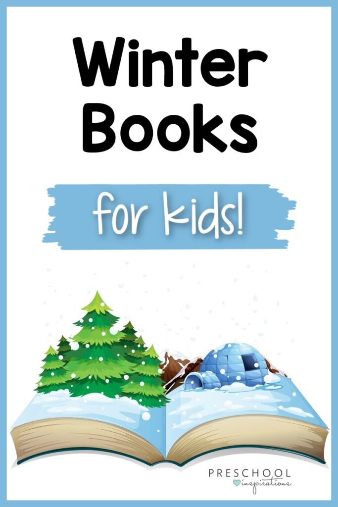 cartoon image of an open book with an igloo and pine tree rising out of it with the text winter books for kids