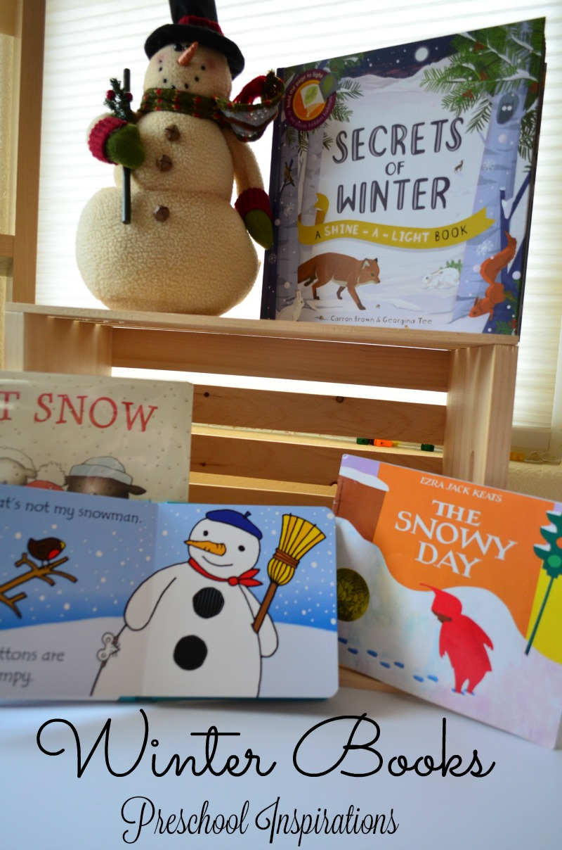 pinnable image of several winter books for children with a stuffed snowman and the text winter books preschool inspirations