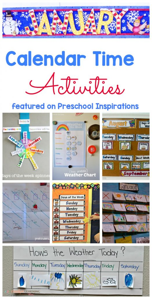 Calendar Time Activities and ideas that have been modified for young children to be developmentally appropriate. #preschool #kindergarten #calendarideas #circletime #circletimeactivities #calendaractivities #daysoftheweek