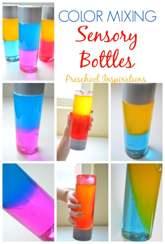Make a color mixing sensory bottle for sensory play, learning about colors, or just for fun! These are perfect for all ages. #preschool #kindergarten #calmdownbottle #sensorybottle #sensorydiy #mindfulness #sensory #colormixing #colors