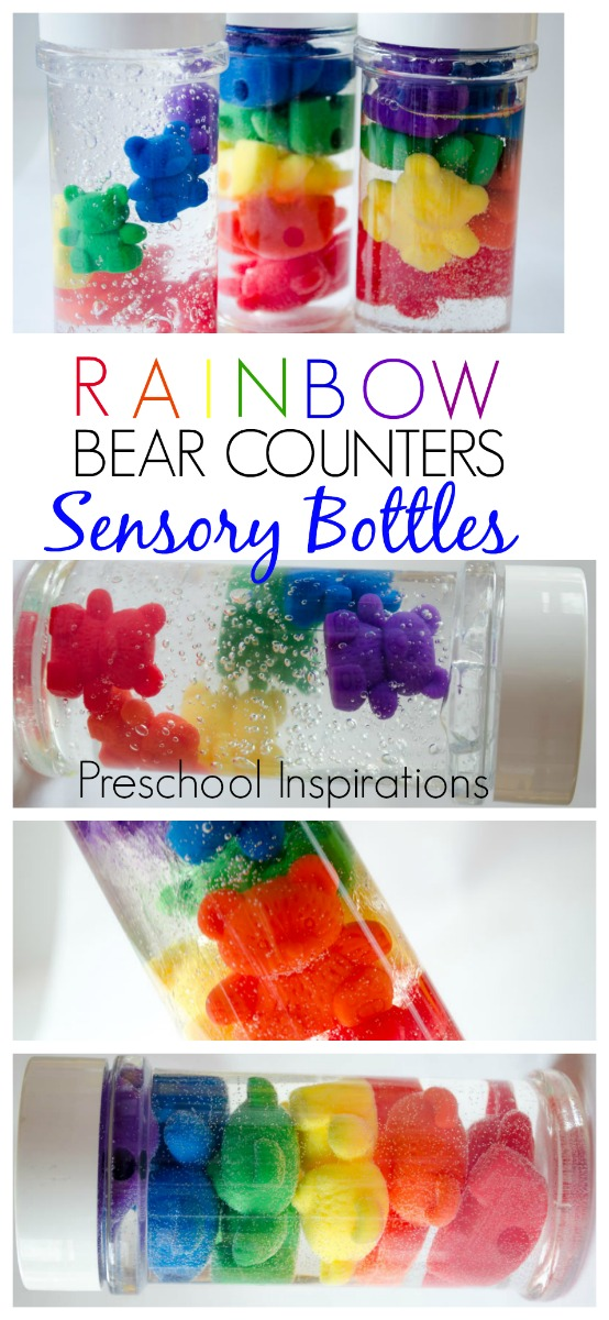 Make rainbow bear counter sensory bottles. These are perfect for a rainbow theme and all ages. #preschool #prek #kindergarten #discoverybottle #sensorybottle #rainbow