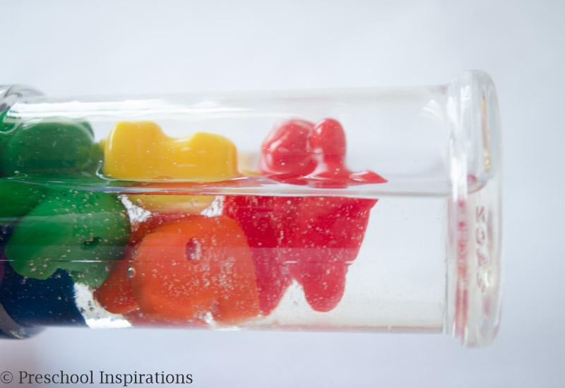 Make a rainbow counting bear sensory bottle.
