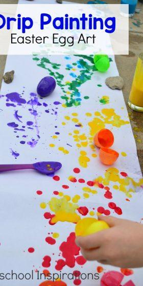 Drip Painting Easter Egg Art