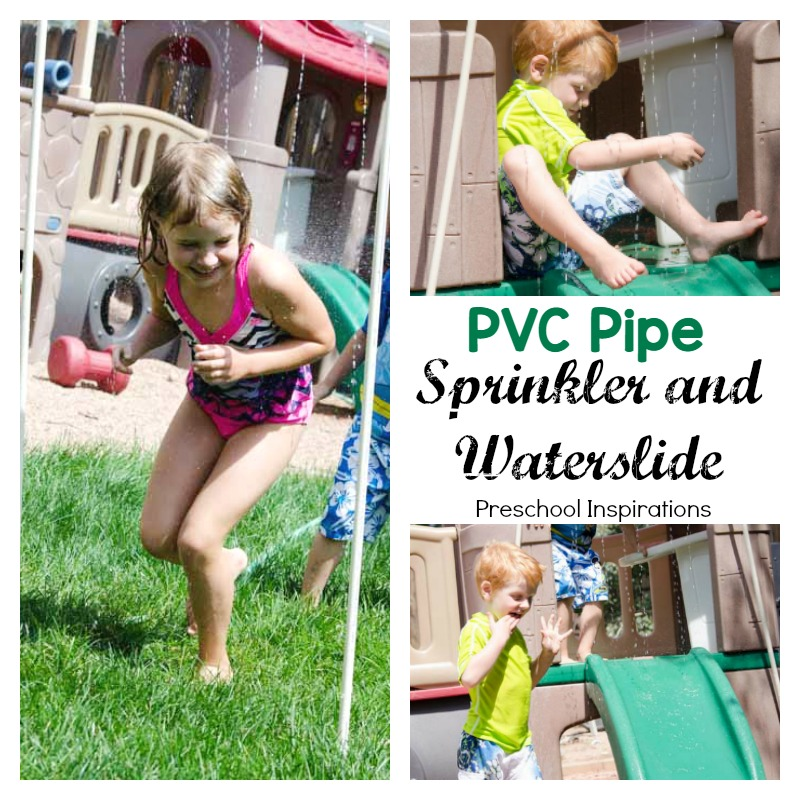 Make a DIY PVC pipe sprinkler and waterslide for lots of outdoor fun!