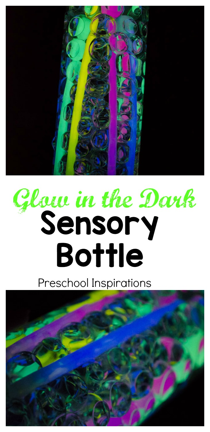Use two ingredients to make this easy glow in the dark sensory bottle!