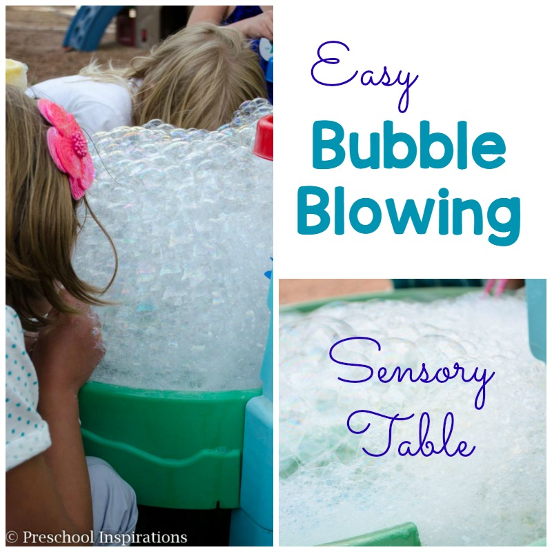 This is a perfect outdoor sensory experience. Let children make bubbles with a bubble blowing sensory table.