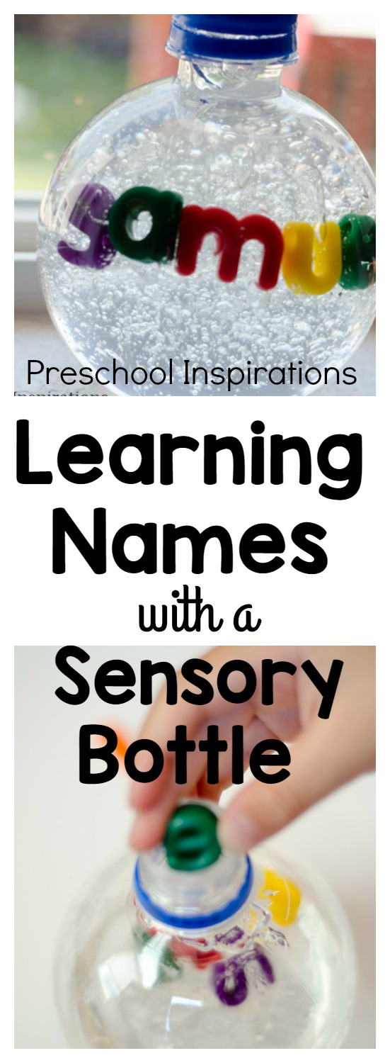 Are you working on name recognition? Or even teaching children to spell their names? This name sensory bottle is a perfect hands-on activity for teaching children to learn their names. This would be perfect as a preschool activity or kindergarten activity.