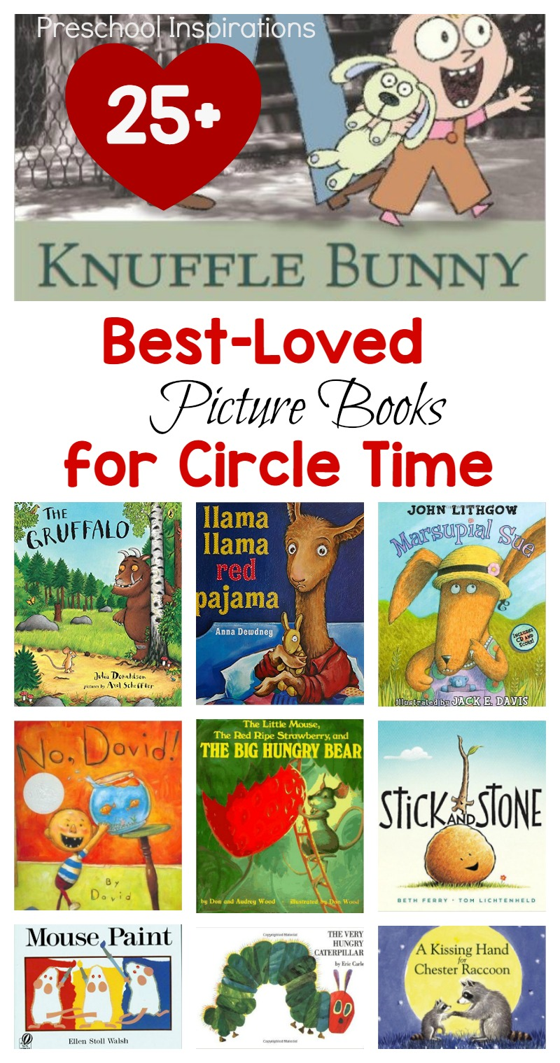 Need the perfect book for a read aloud? Here are 25+ of the most popular children's books that are best loved for circle time. Kindergarteners, preschoolers, toddlers, and children of all ages love hearing these best loved picture books. #prek #preschool #kindergarten #booksforkids #readaloud #circletime #circletimebooks #picturebooks