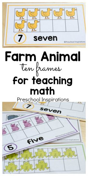 Farm Animal Ten Frame Math Cards
