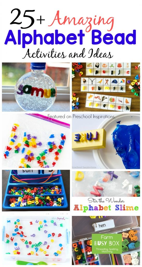 Here are 25+ alphabet activities for preschool and kindergarten. Help children learn their letters, letter sounds, learning to spell, learning to write, and so many more important literacy foundations. #preschool #kindergarten #finemotor #literacy #alphabet #alphabetbeads #alphabetideas