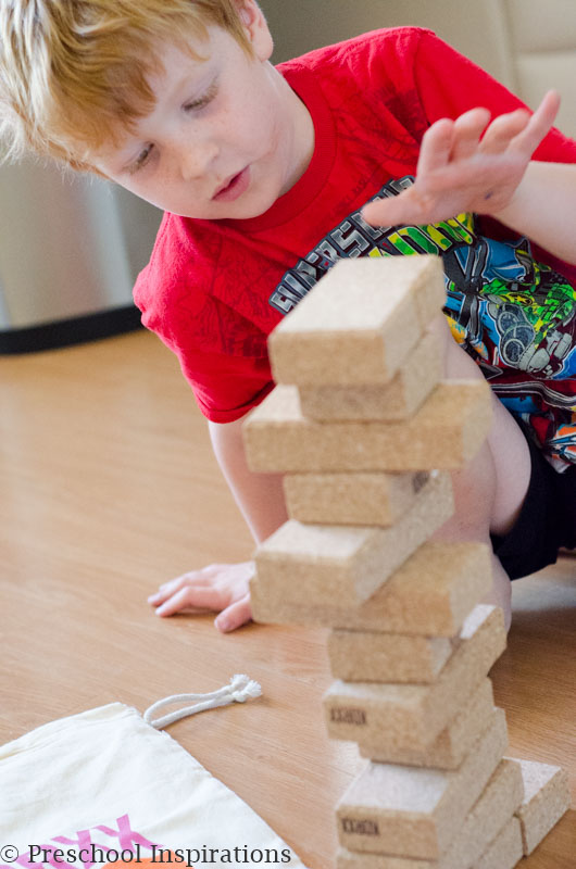 Block play is a great STEAM activity. We used these quiet blocks made by KORXX that are lightweight and soft.