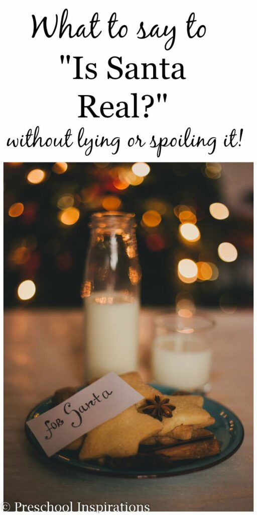 What to say to a child who asks if Santa is real without lying or spoiling. Are your kids asking about Santa? Do you worry about what to say? Just tell them this!