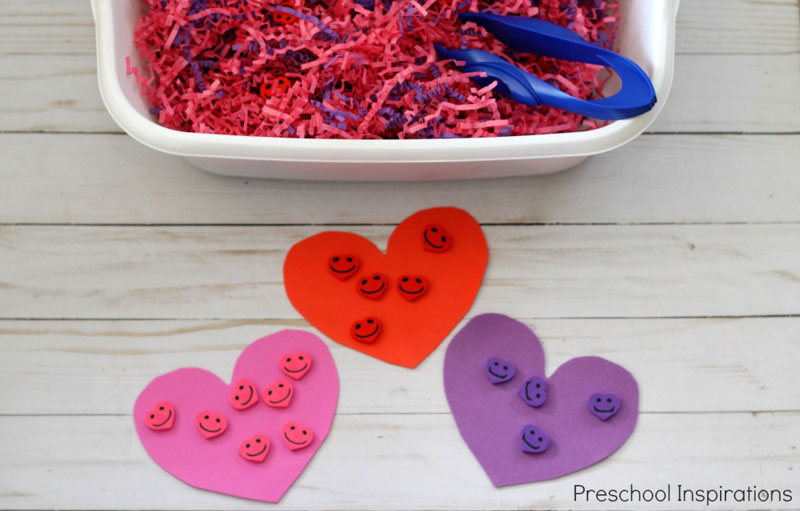 Kids can explore sorting and counting this Valentine's Day with a colorful hearts sensory bin.